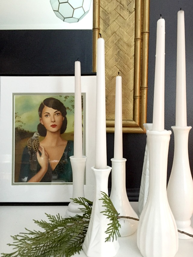 Easy holiday decorating: bud vases for taper candles