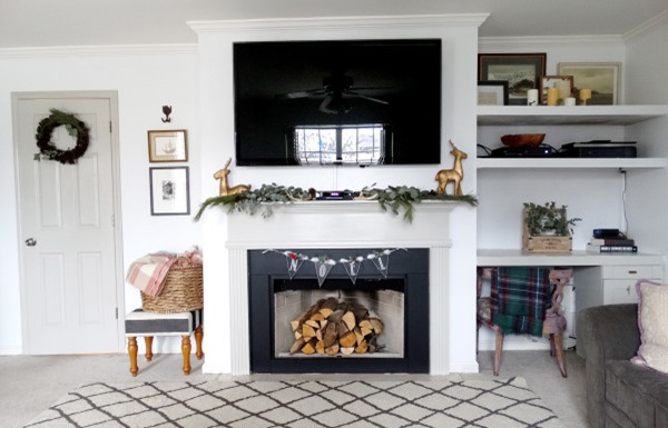 home tour: living room with tv over fireplace