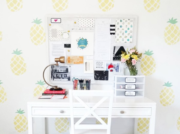 home office with pineapple wallpaper