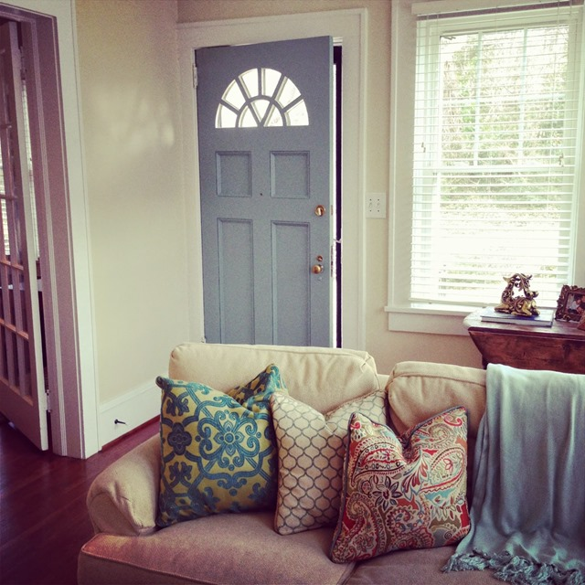 living room blue front door
