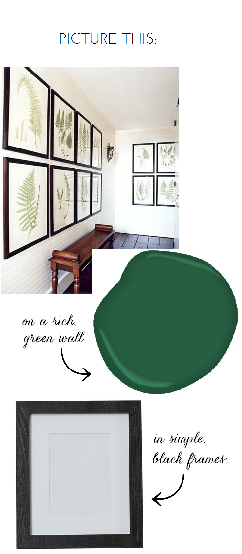 Fern Gallery Wall + Green Paint