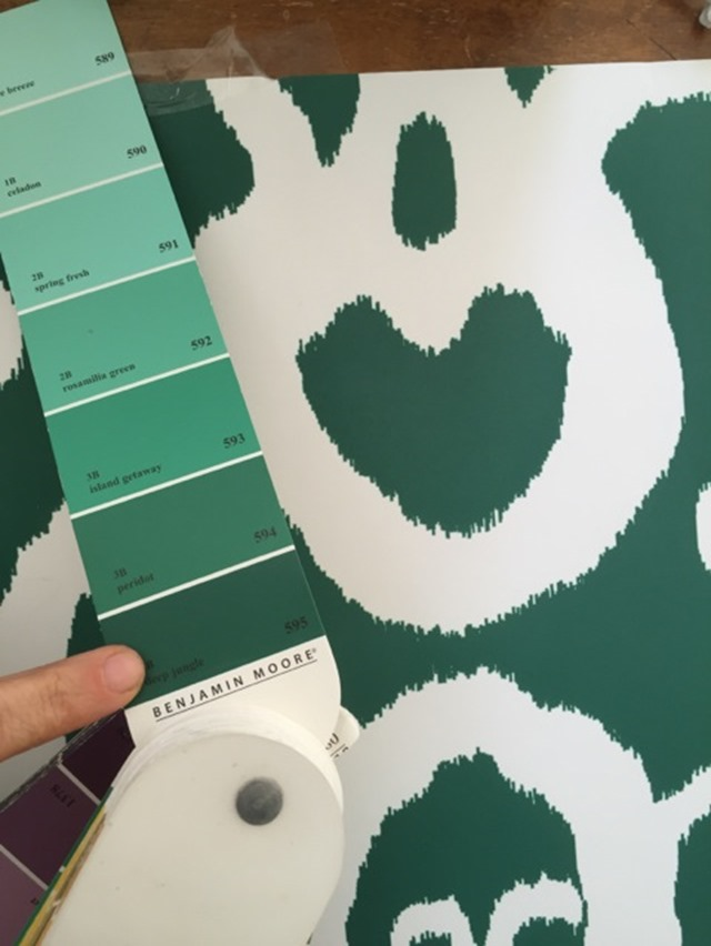 Emerald Green Ikat Wallpaper Benjamin Moore Deep Jungle