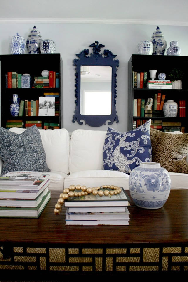 Colonial living room + blue federal mirror