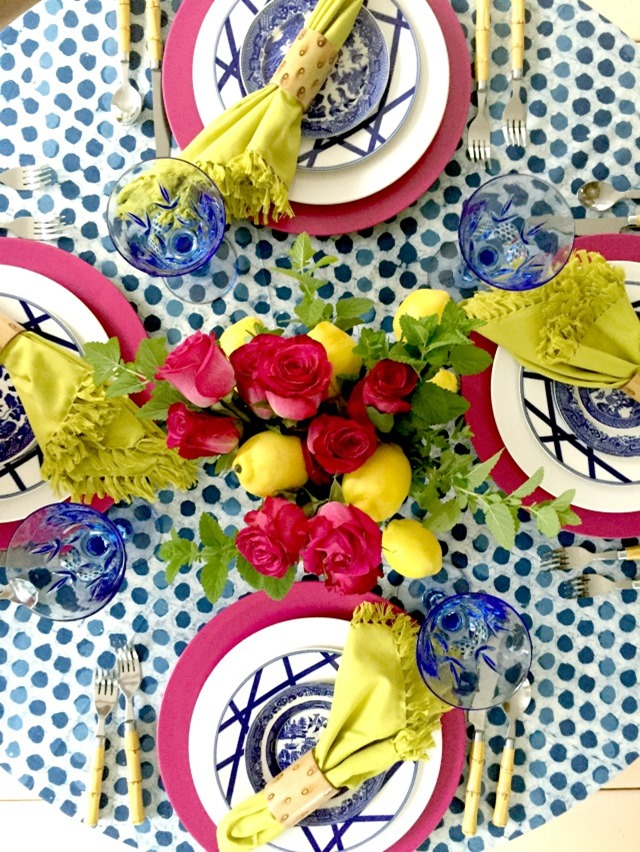 Blue and white summer table setting