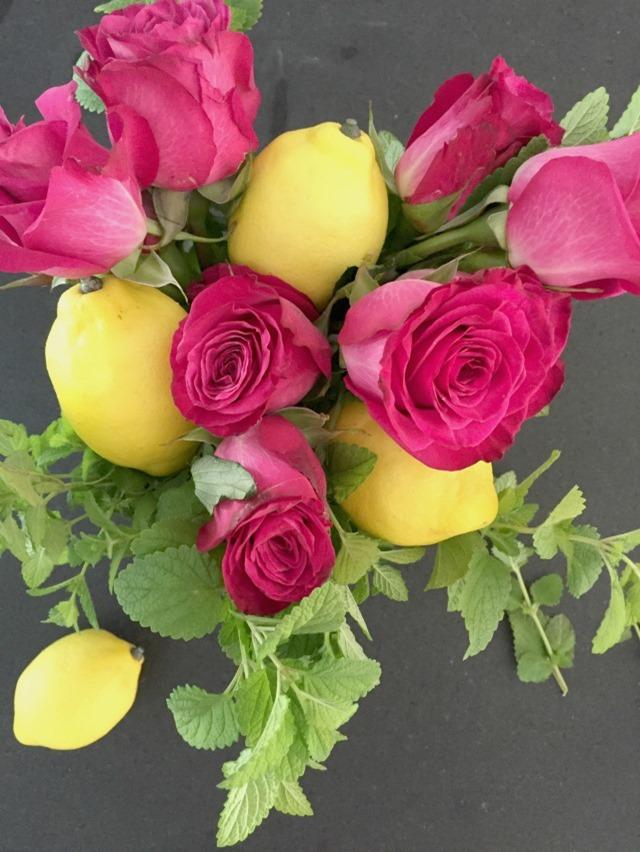 lemons + roses + mint centerpiece