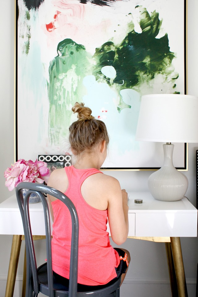 girl's bedroom desk + artwork