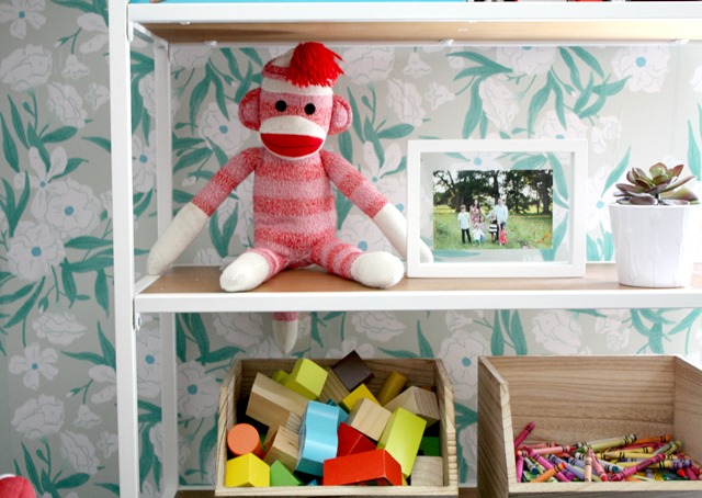 playroom bookcase styling
