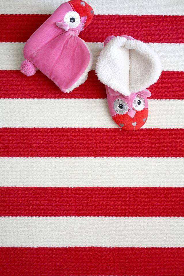 Target red striped rug