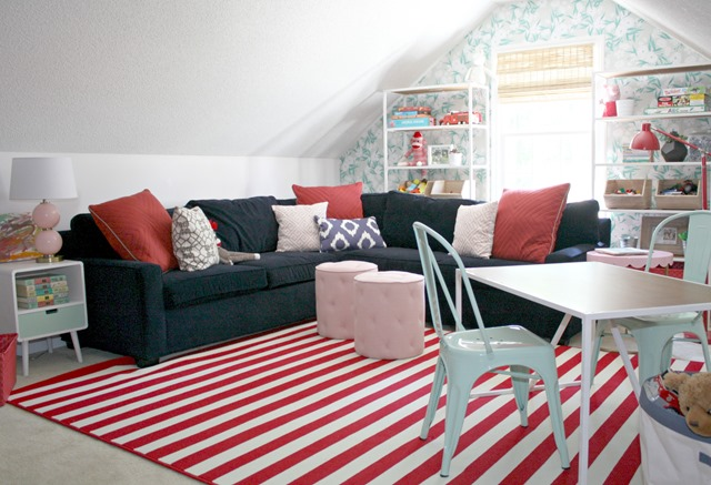 red + pink + navy playroom