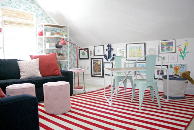 colorful playroom with striped rug