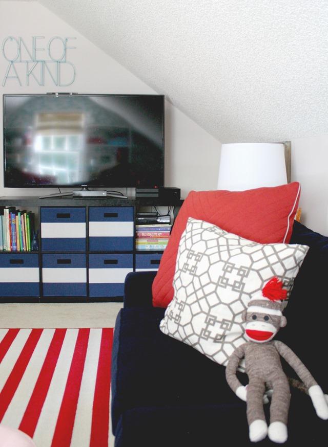 Playroom TV wall