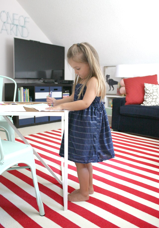 playroom red white striped rug