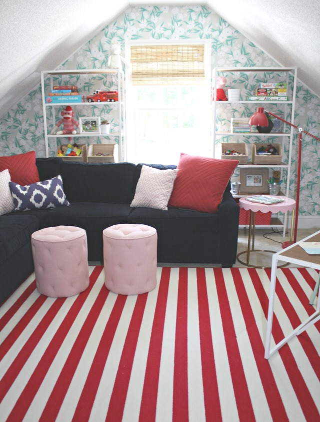 angled attic wall in playroom
