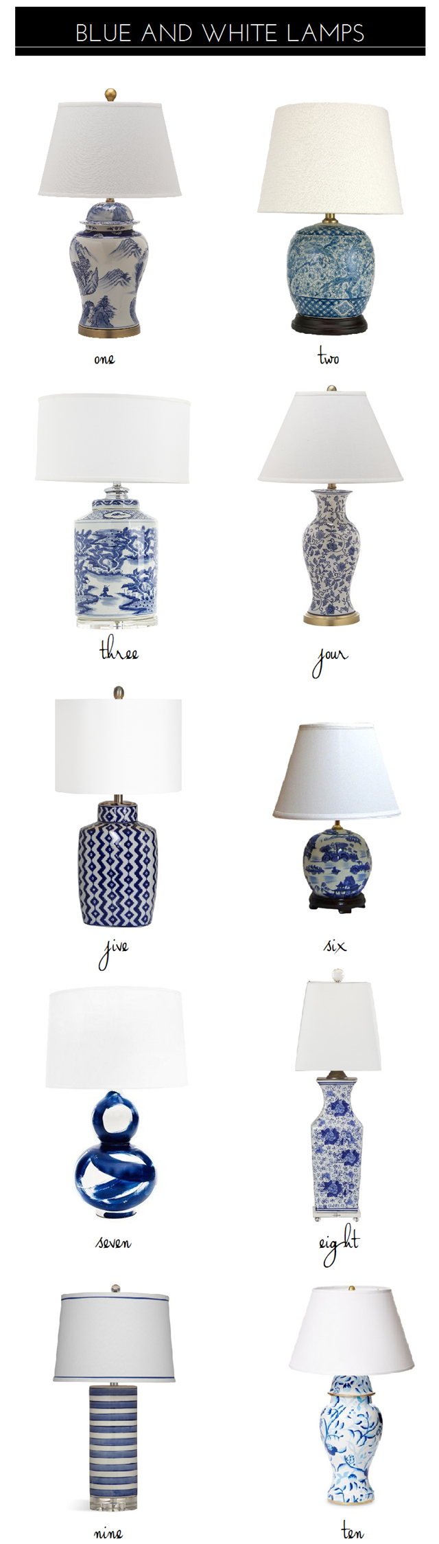 Shop the Classics: Blue and White Lamps