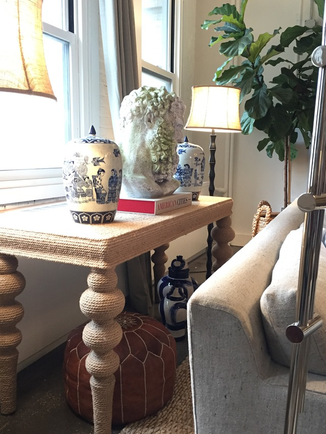 rope wrapped console table