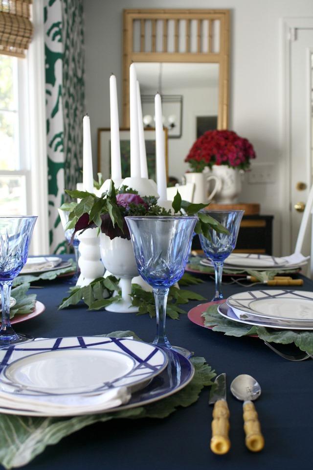 blue white Thanksgiving table