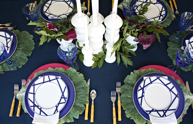Navy Blue + Plum Fall Tablescape