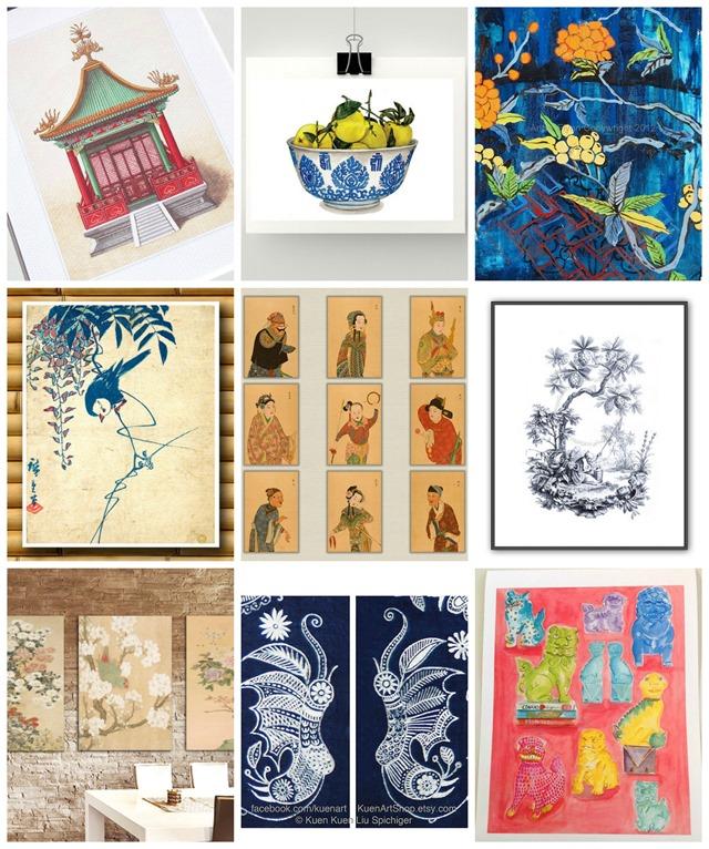 chinoiserie art on Etsy