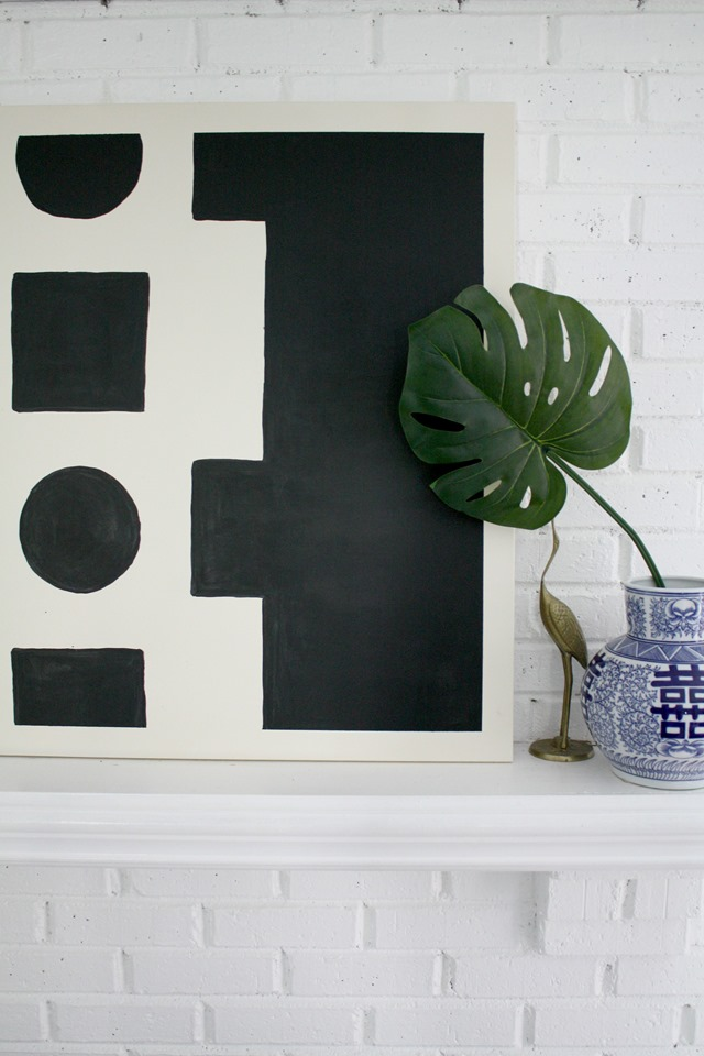 diy-abstract-art-mantel