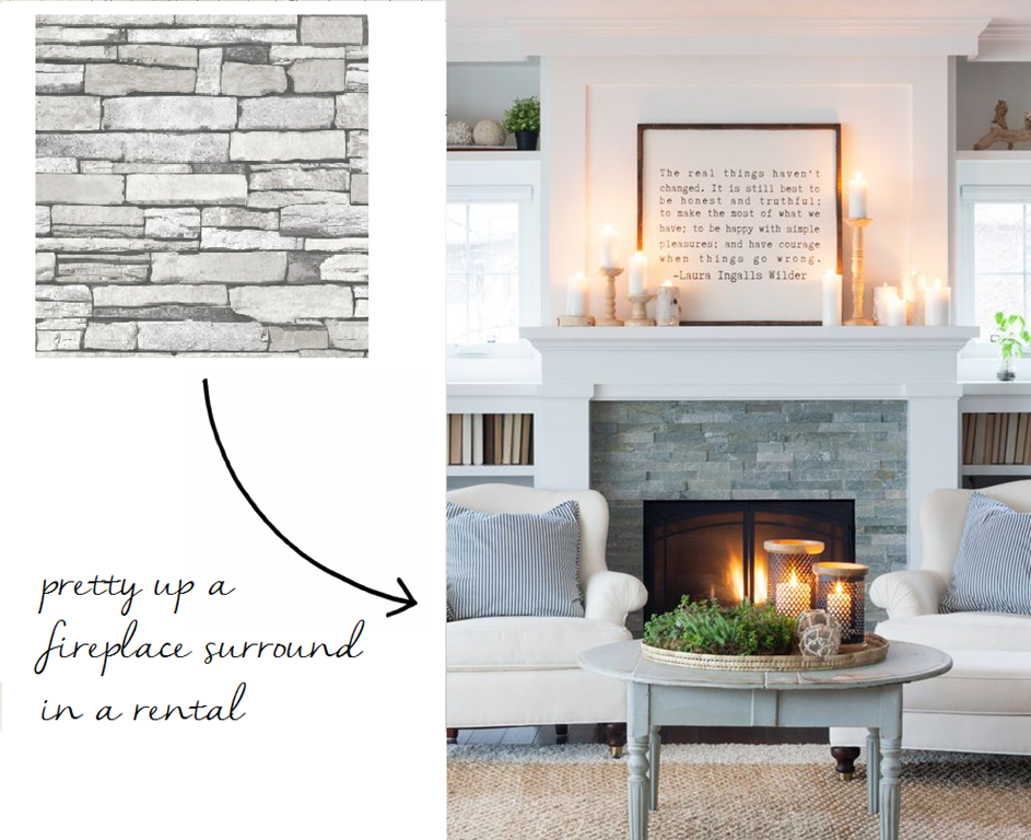 12 peel stick wallpapers that don t look like wallpaper Fireplace ideas no fire