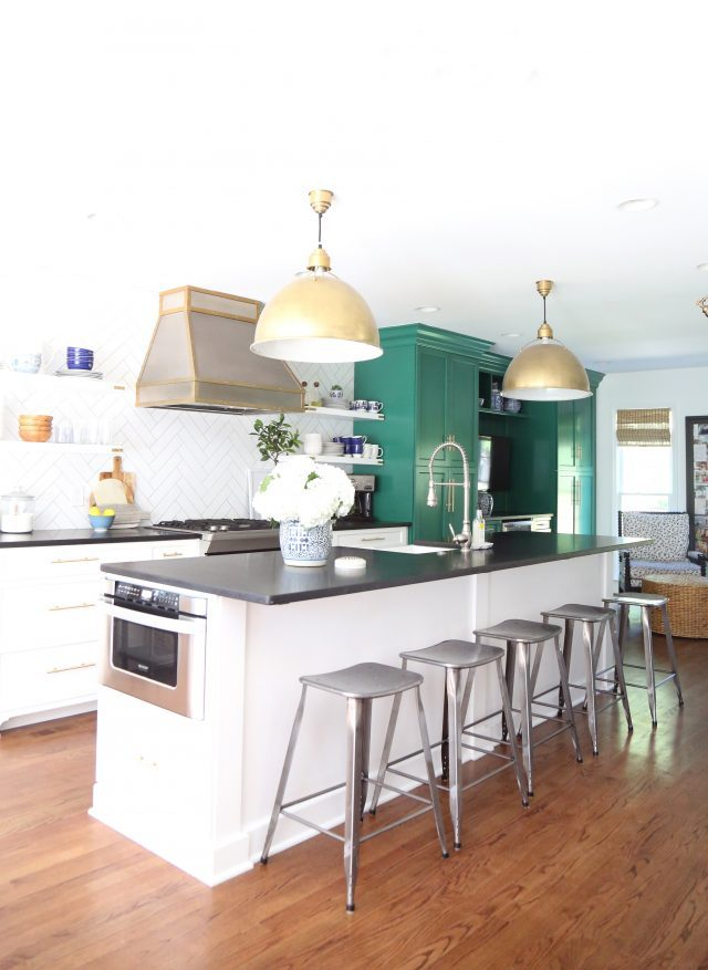 green white kitchen renovation colonial house