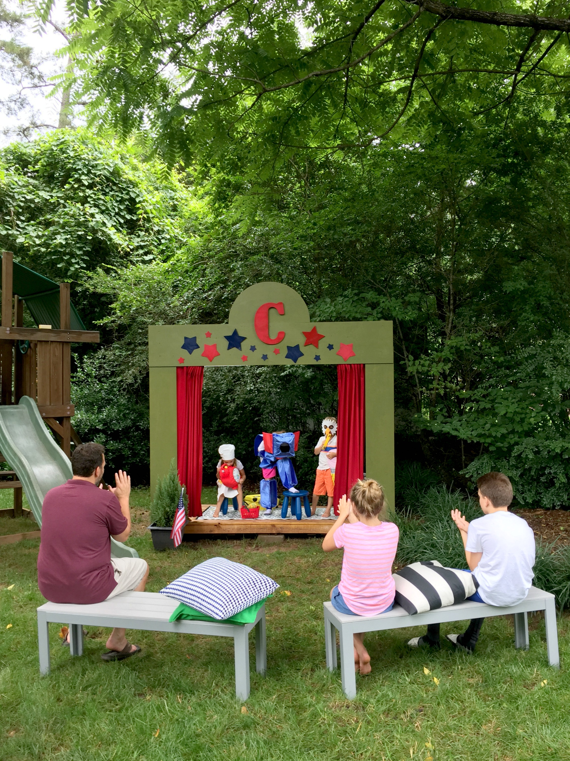 our diy kids u0027 backyard theater emily a clark