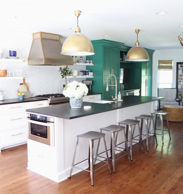 green and white kitchen renovation