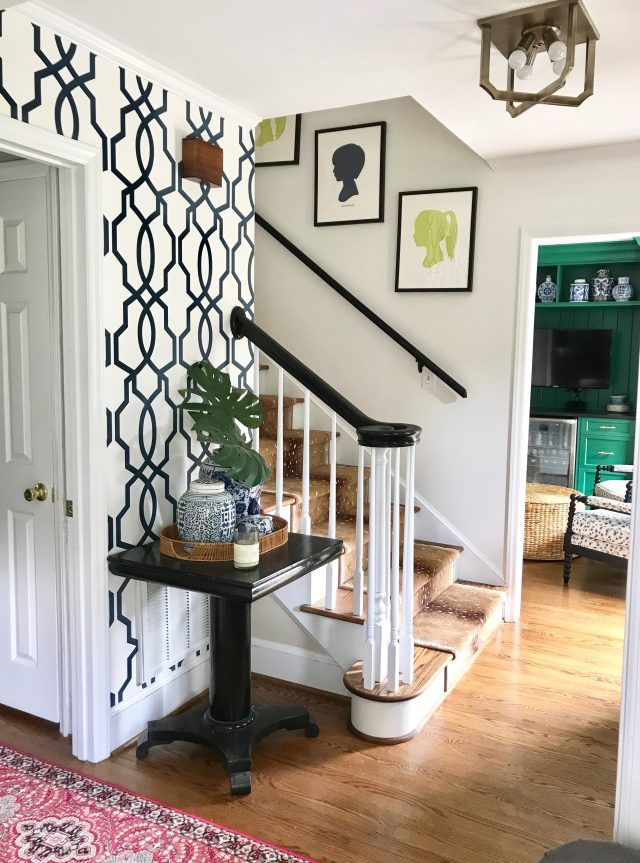 entryway stairs with antelope runner