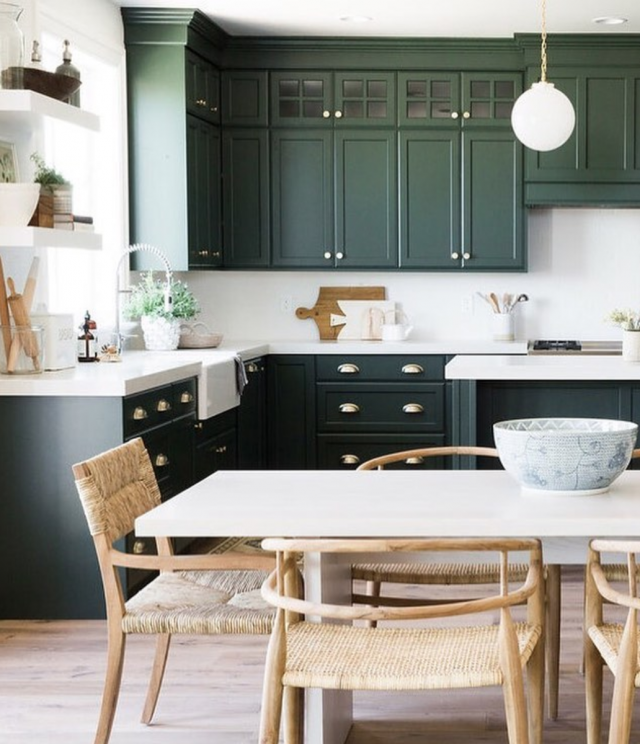 Green Kitchen With Dark Cabinets: Emily A. Clark