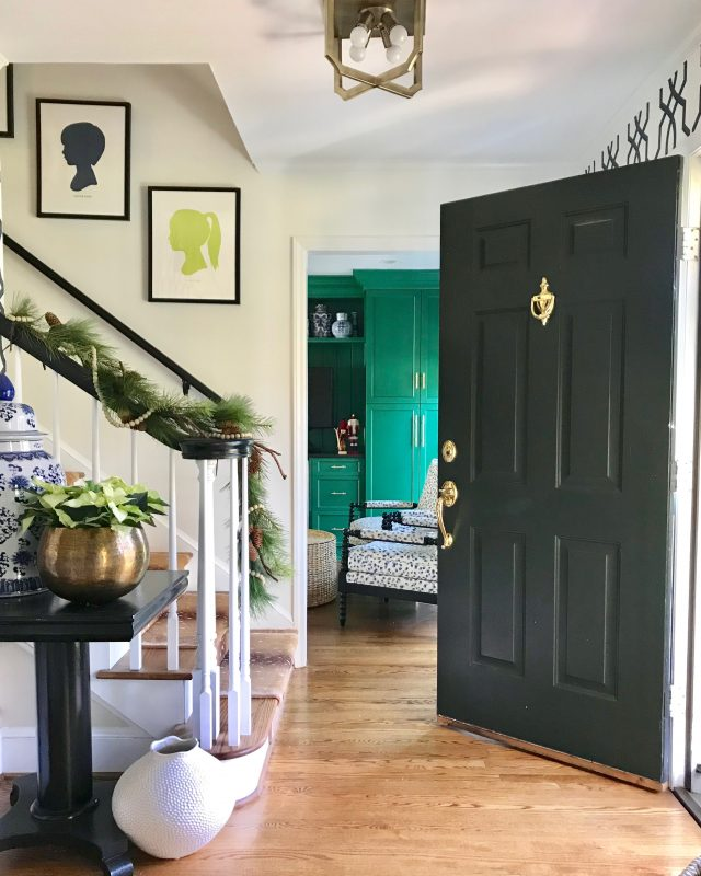 Christmas decor colonial house entryway