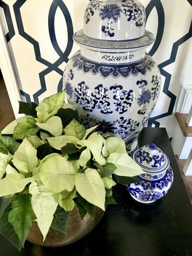 blue and white Christmas decor