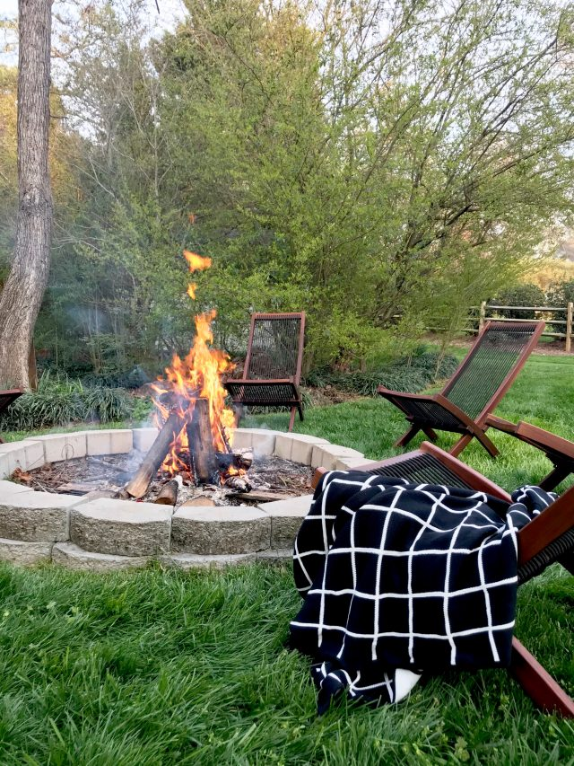 outdoor IKEA chairs firepit