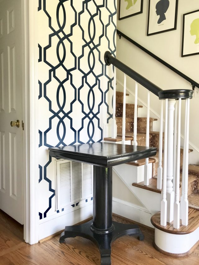 entryway trellis wallpaper