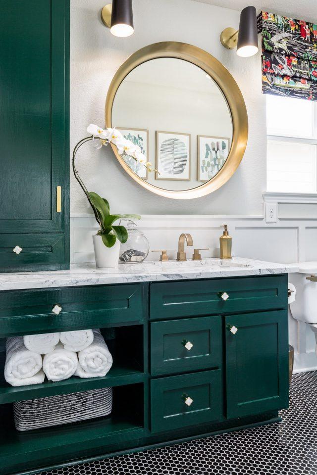 green-bathroom-cabinets