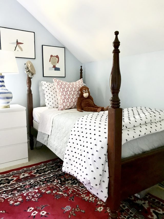 red white blue boy girl shared bedroom space