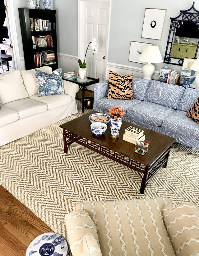 mixing patterns with different living room sofas