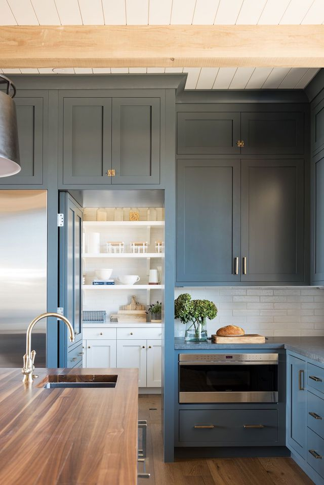 STUDIO-MCGEE-navy kitchen-pantry-door