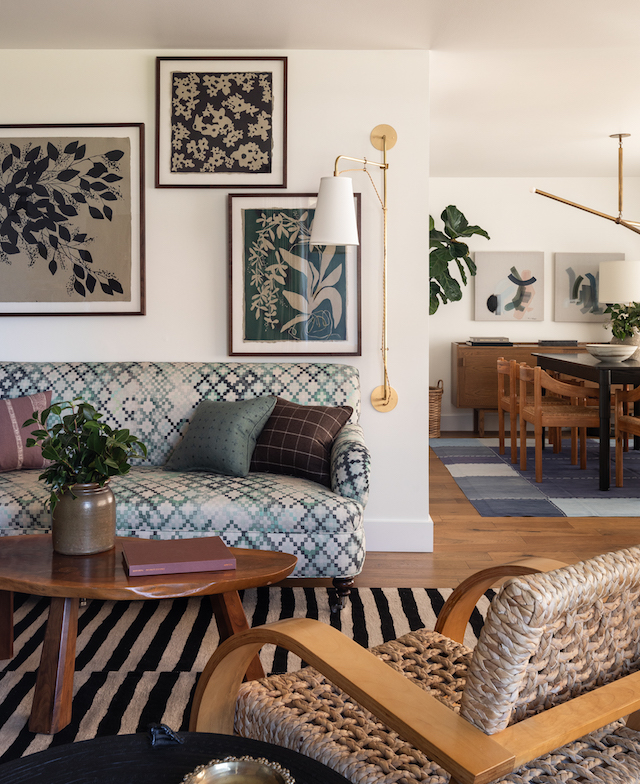 Heidi-Caillier-Design-Seattle-interior-designer-Olympic-Manor-house-modern-traditional-green-sofa-striped-rug-audoux-minet-chairs-graphic-art-olampia-sconce-pattern-mixing