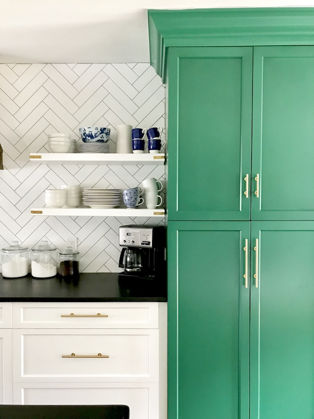 green-white-kitchen-cabinets-open-shelves
