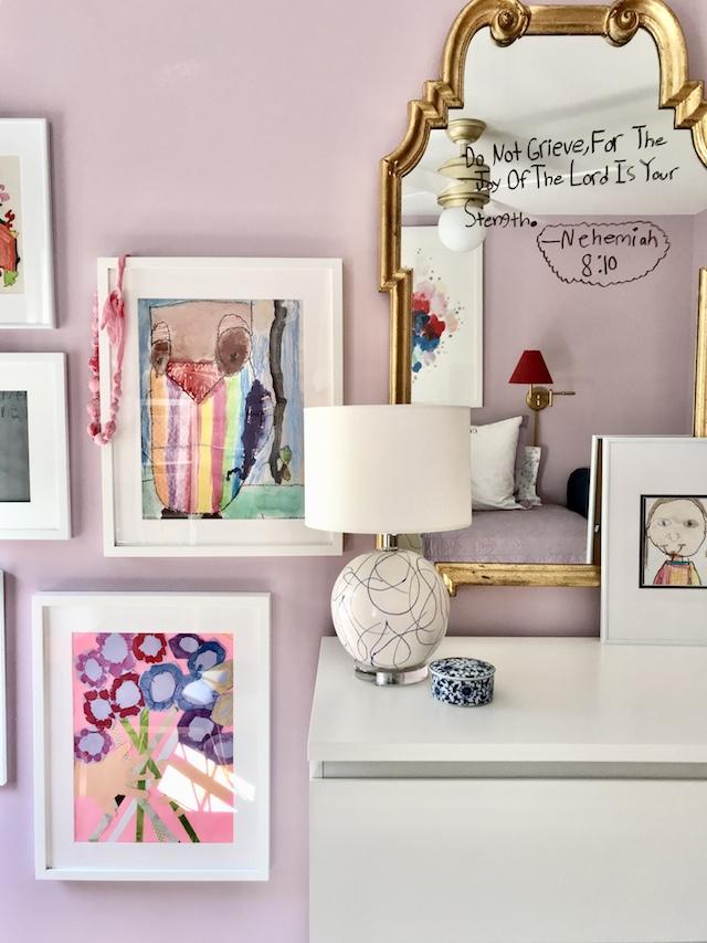 girls-bedroom-lavender-red-gallery-wall-kids-artwork-mirror