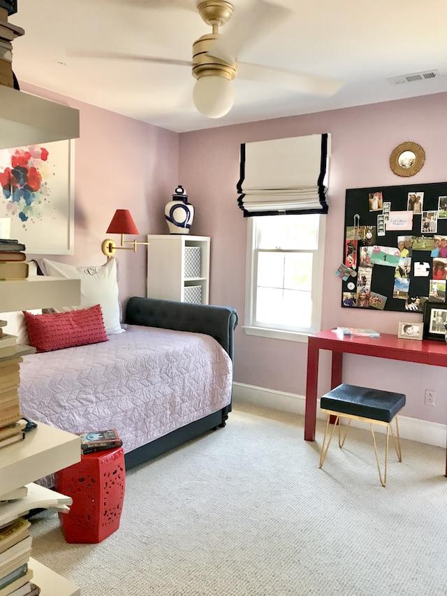 girls-lavender-red-bedroom-trundle-bed