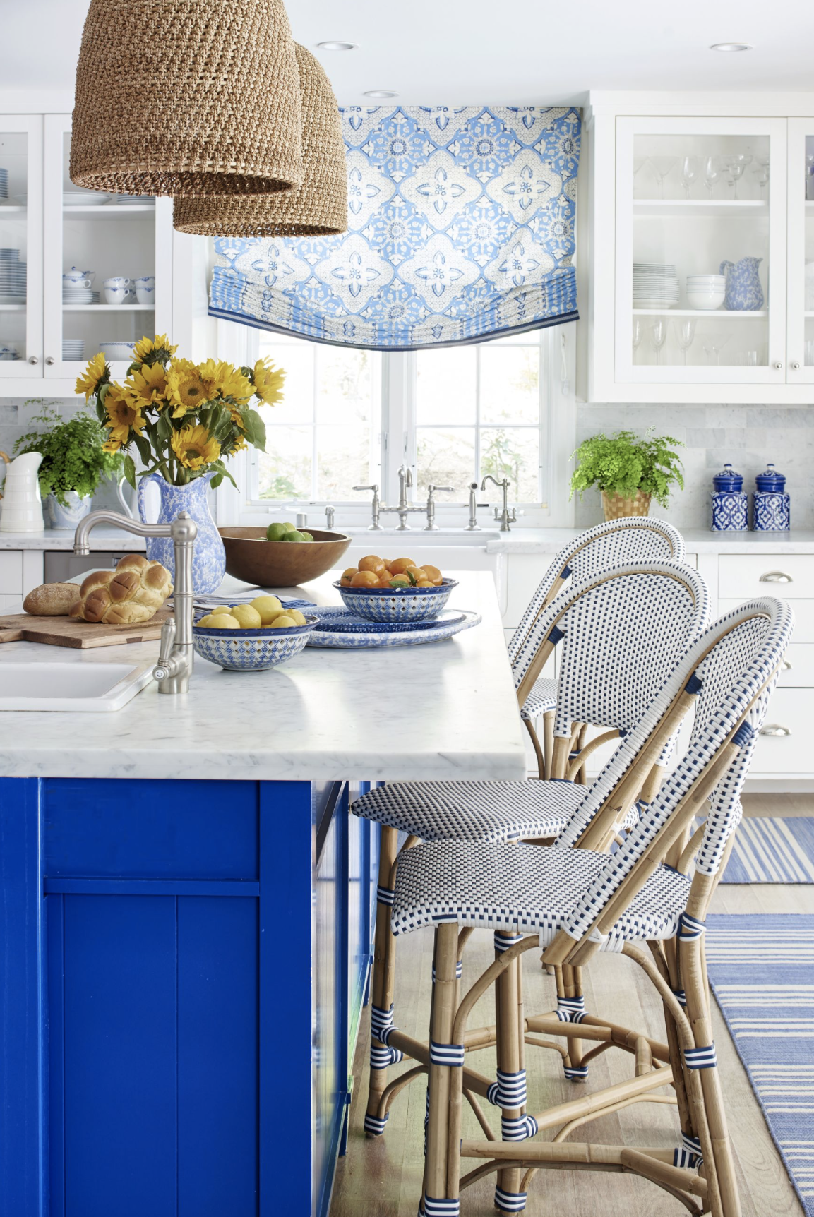 blue kitchen island-color of the year