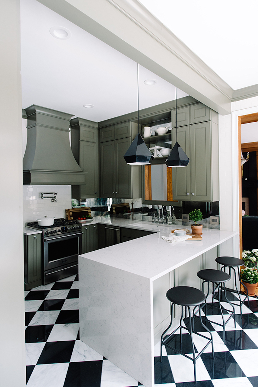 Sage-green kitchen-cabinets