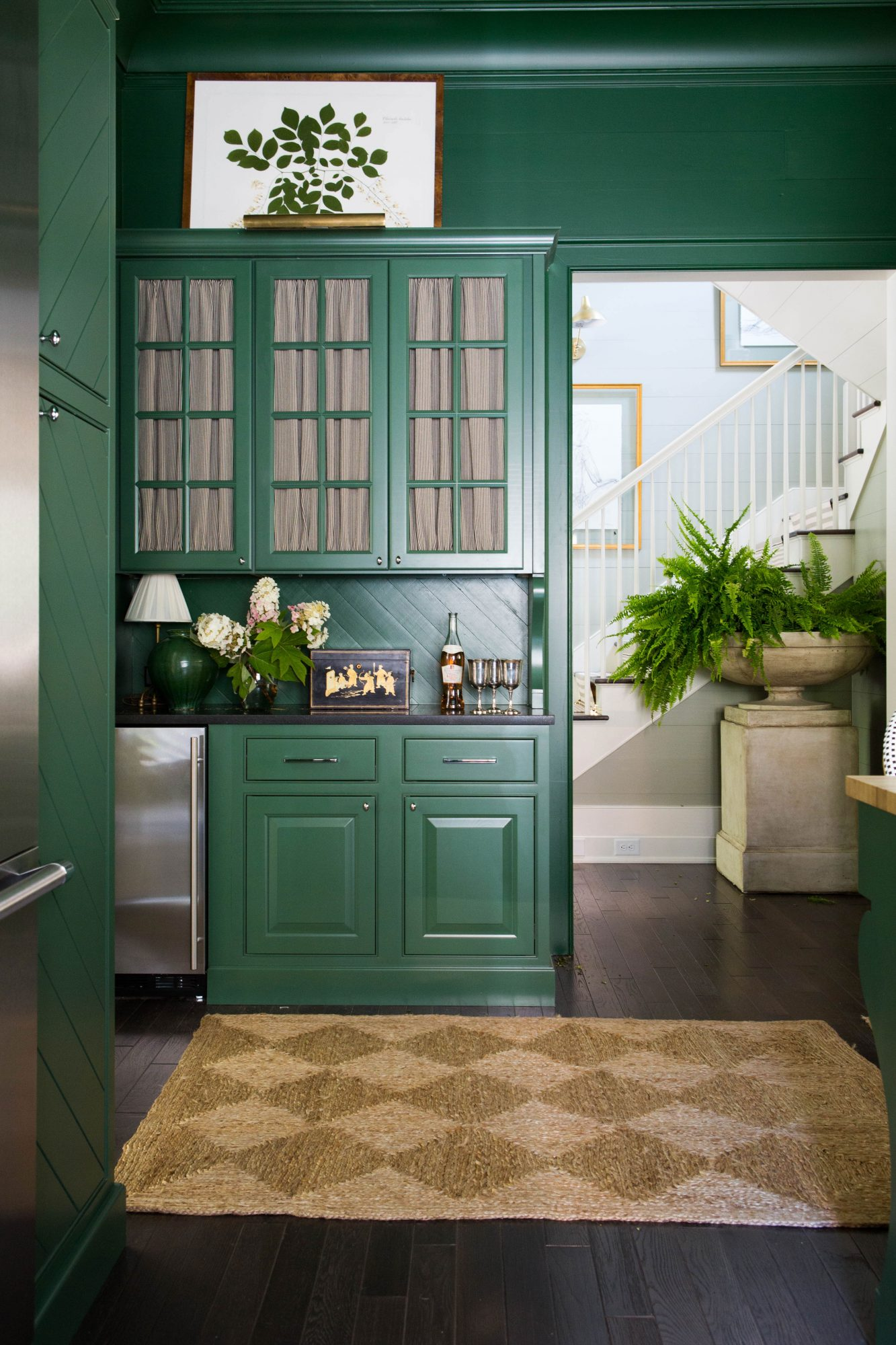 Painting-Trim-Cabinets-Same-Color-Emerald-Green