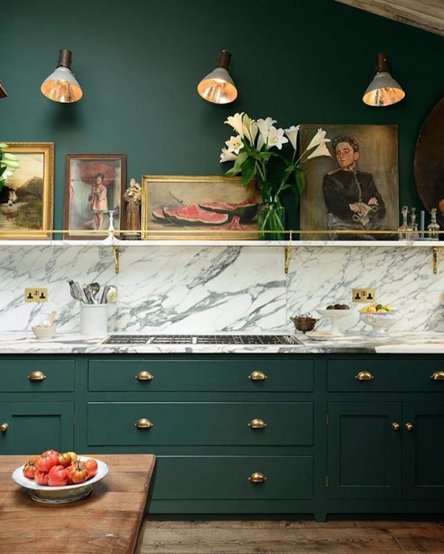 green-kitchen-walls-cabinetry-matching-color