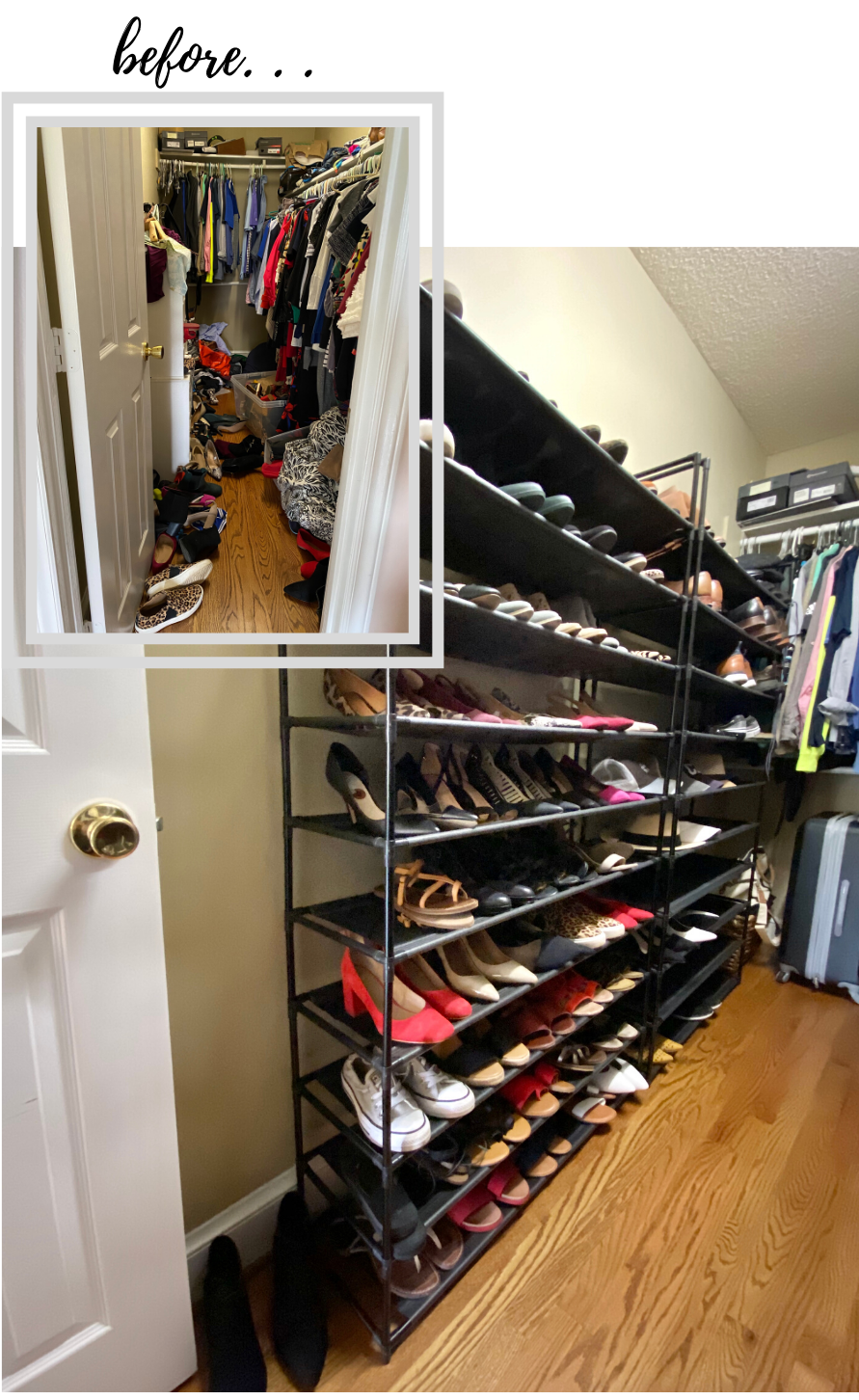 shoe-organizer-cloest-before-after