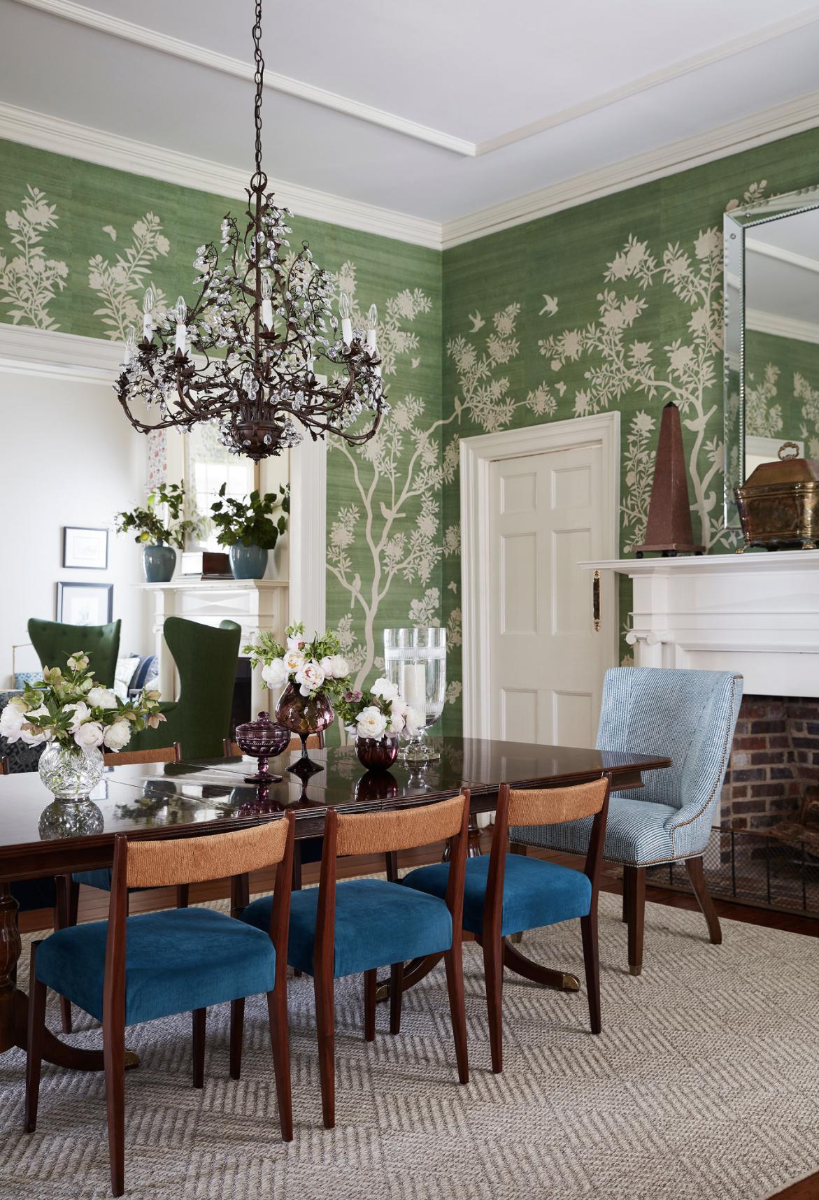 Andrew J Howard chinoiserie dining room green