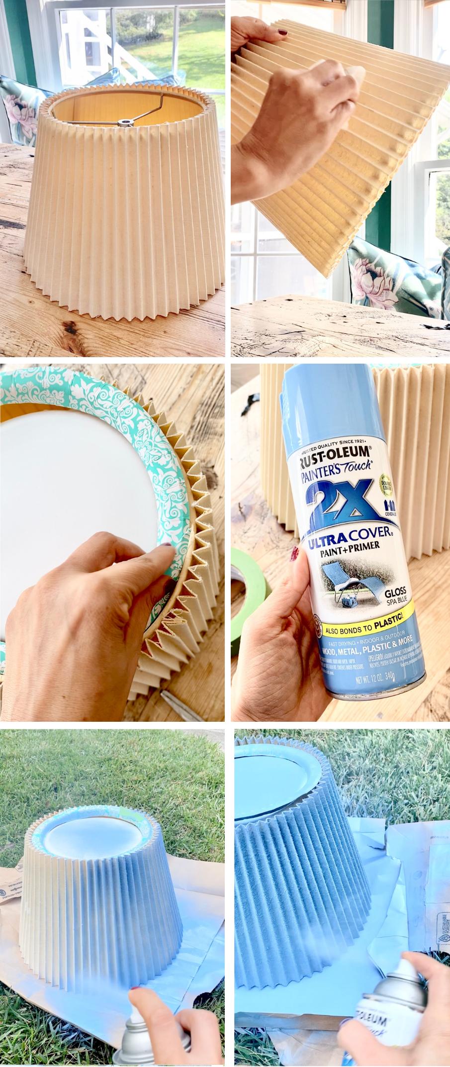Spray-painting-fabric-pleated-lamp-shade