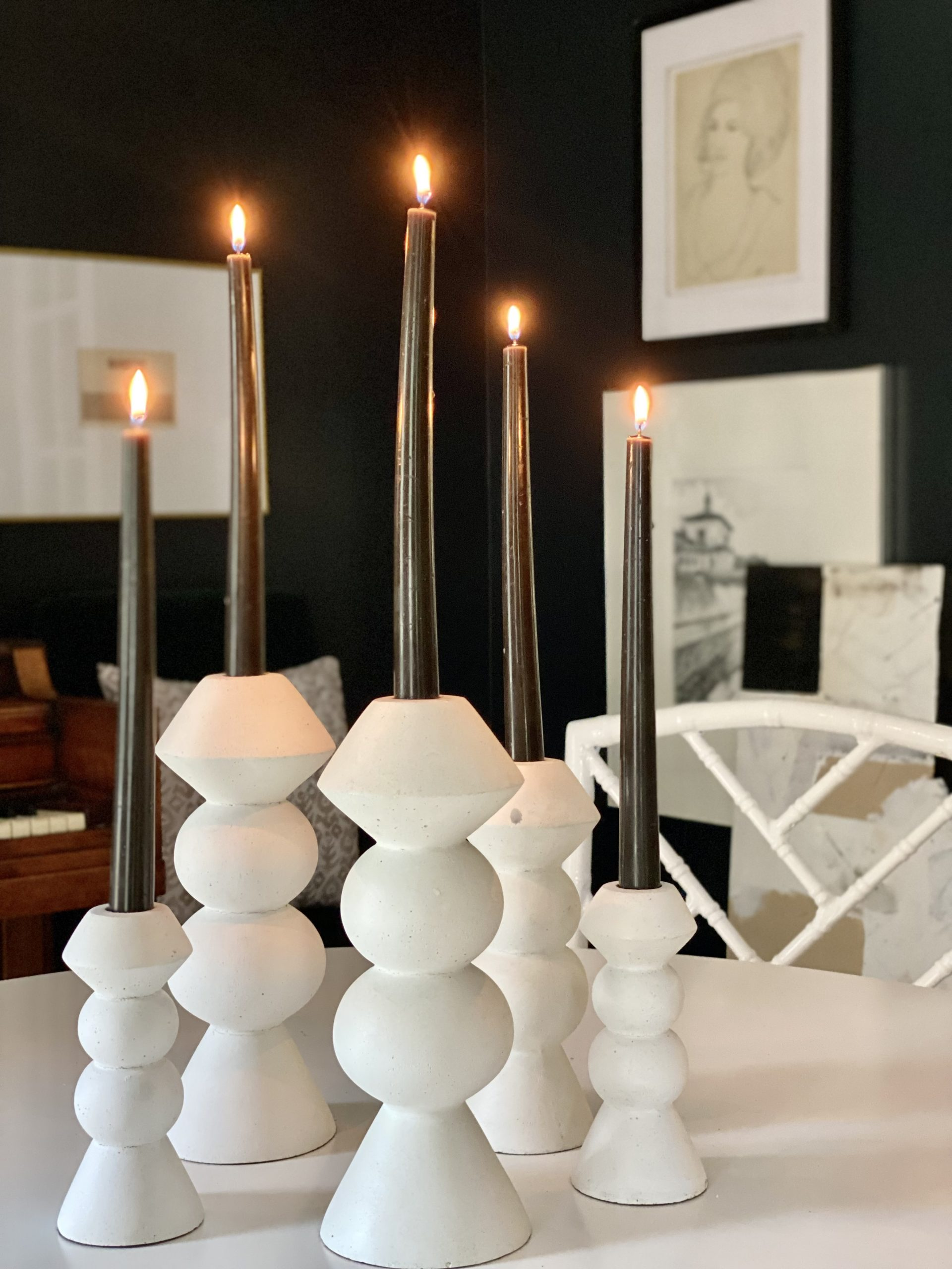 Fall-decorating-black-candles